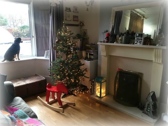 Festive interior and wooden floor