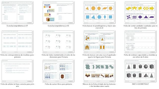 Fichas de ejercicios de matemática para cuarto de primaria