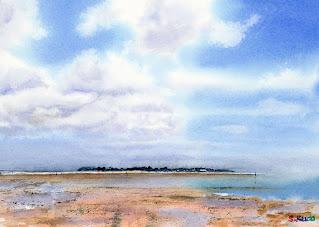 水彩画「浅瀬」久米島で