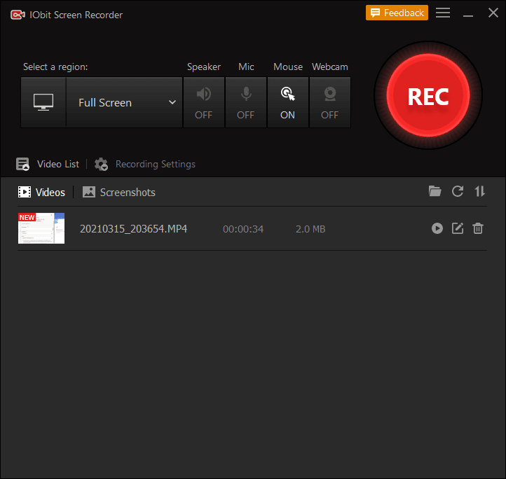IObit Screen Recorder Main Interface Screenshot
