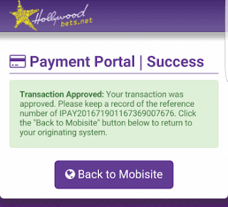 Payment Success - Click back to Mobisite and refresh balance - iPAY Method - Hollywoodbets Mobisite