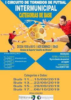 Prefeitura de Baraúna realizará 1° Circuito de Torneios de Futsal Intermunicipal neste domingo (15)