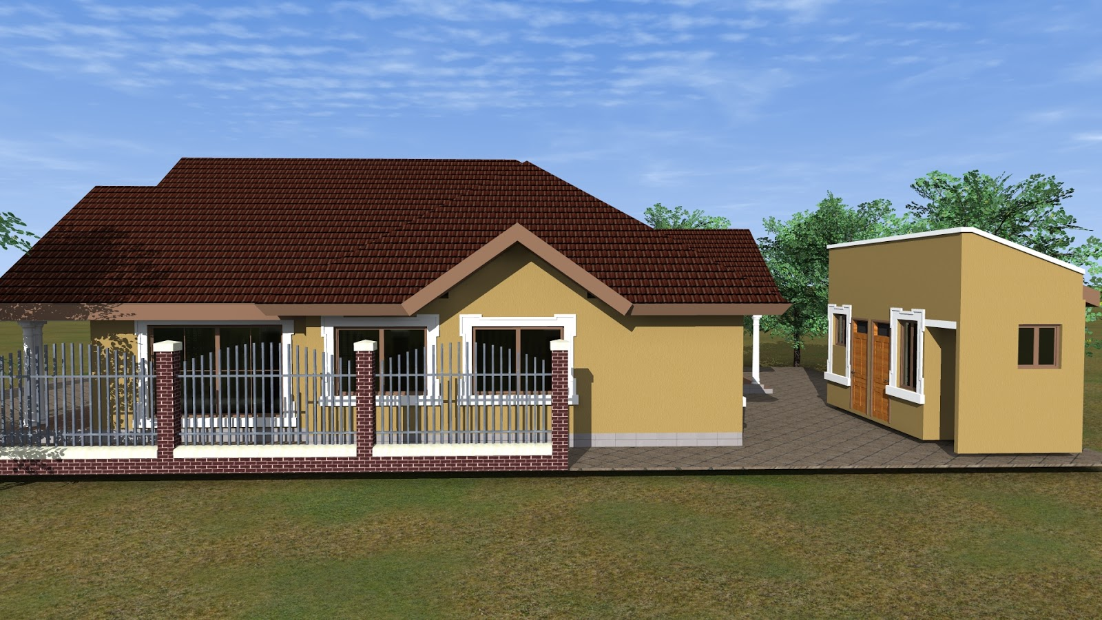 Simple four bedroom home home plan tz for Simple 4 bedroom house