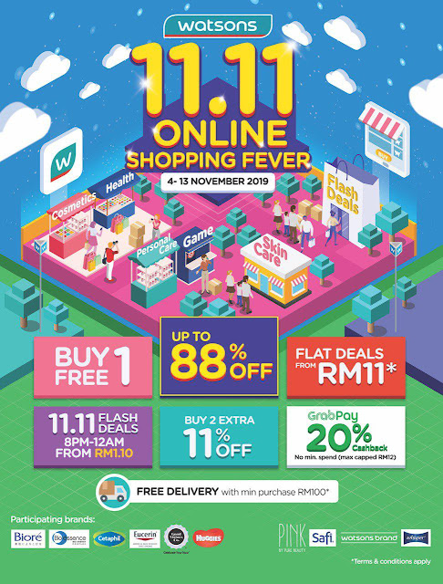Watsons 11.11 Online Shopping Fever from RM1.10