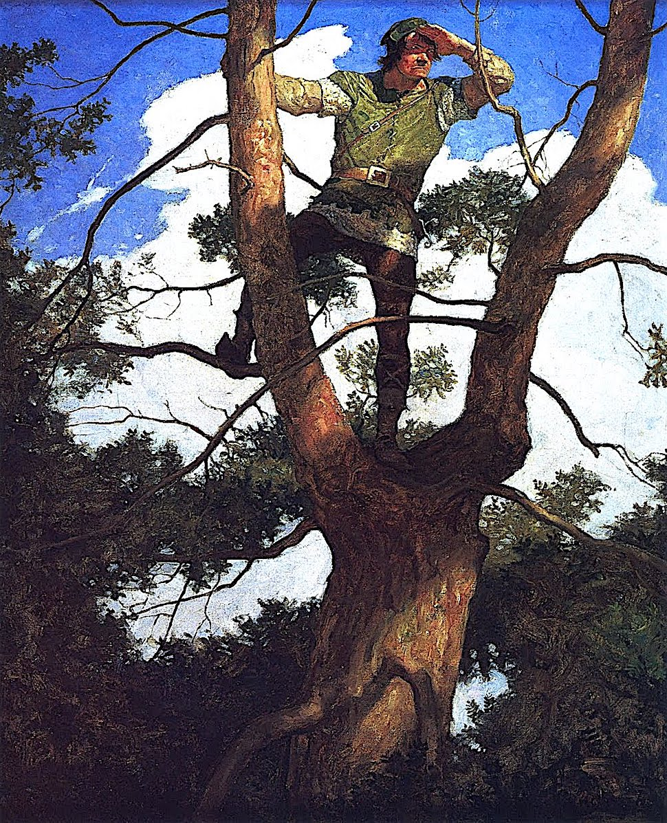 an N.C. Wyeth book illustration for Robin Hood, a man scouting from atop a tree in Sherwood Forest
