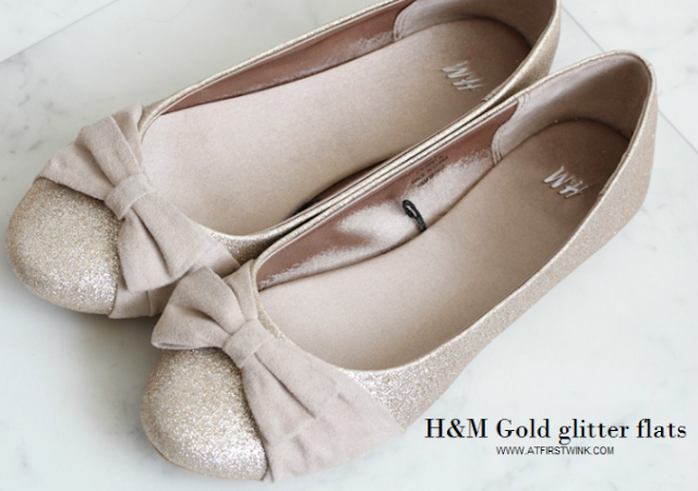 H&M gold glitter flats review