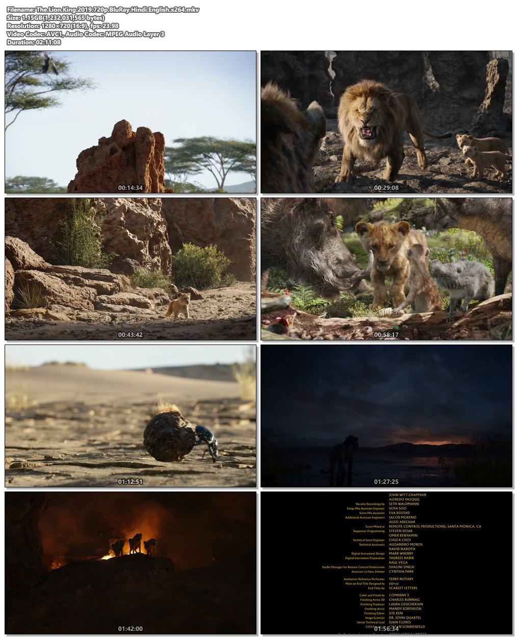 The Lion King 2019 720p BluRay Hindi English x264 | 480p 300MB | 100MB HEVC Screenshot