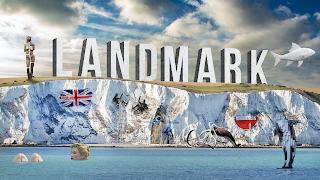 The word Landmark on the white cliffs of Dover