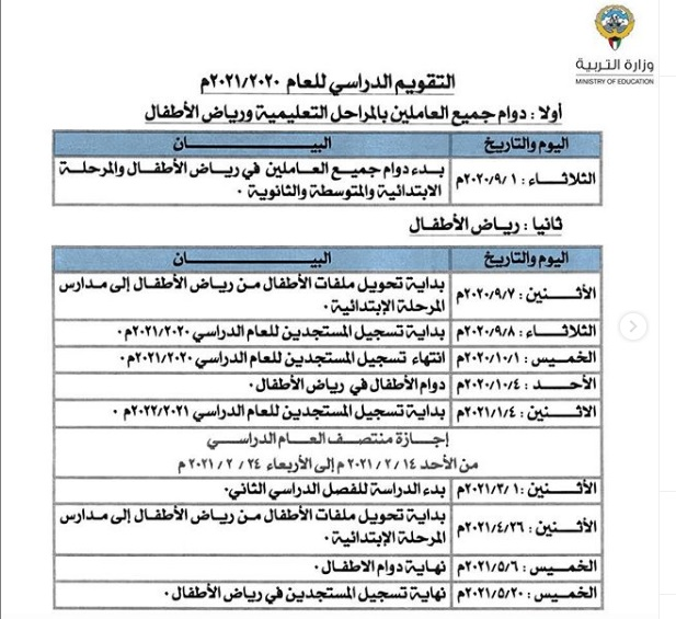 التقويم الدراسي للعام الجديد في الكويت ٢٠٢١/٢٠٢٠