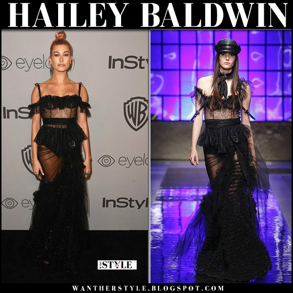 1f914143d Hailey Baldwin in black sheer tulle dress dsquared2 golden globes after  party fashion 2018