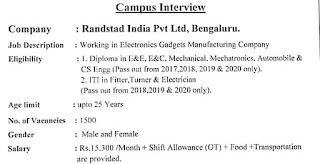 ITI and Diploma Job Campus Interview For Randstad India Pvt Ltd, Electronics Gadgets Manufacturing Company