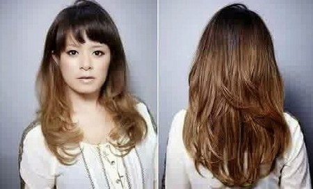 model rambut segi panjang tampak belakang