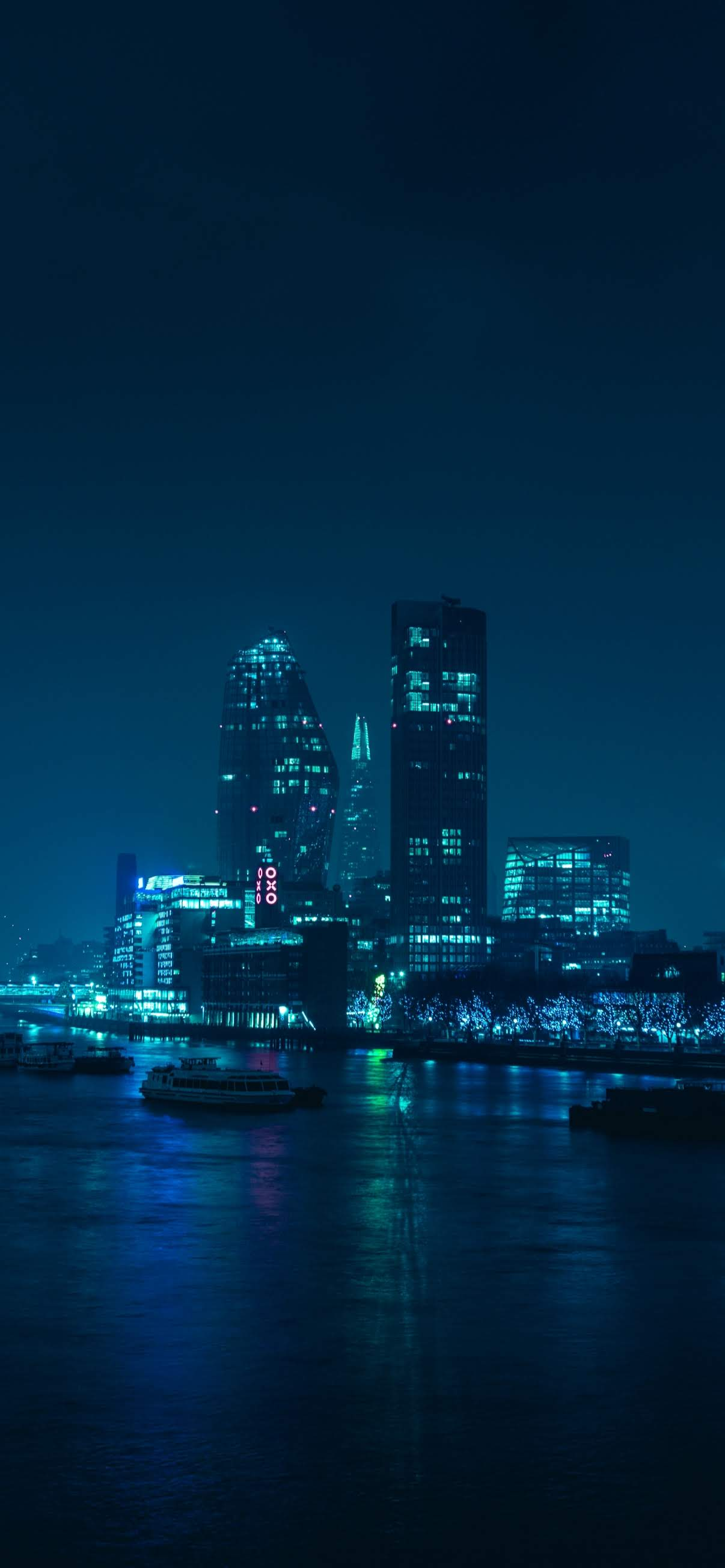 city building blue light night