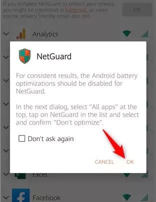 منع الإنترنت عن التطبيقات NetGuard