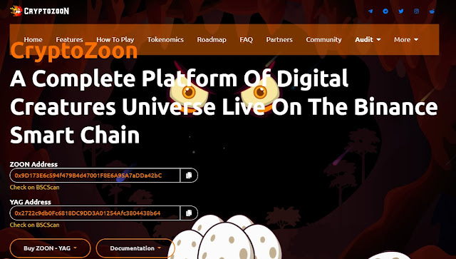 Screenshot Website CryptoZoon (ZOON) Cryptocurrency