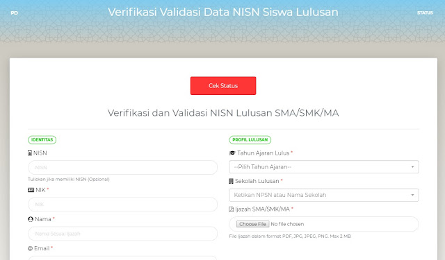 Fitur Verval NISN untuk Siswa SMA/SMK/MA