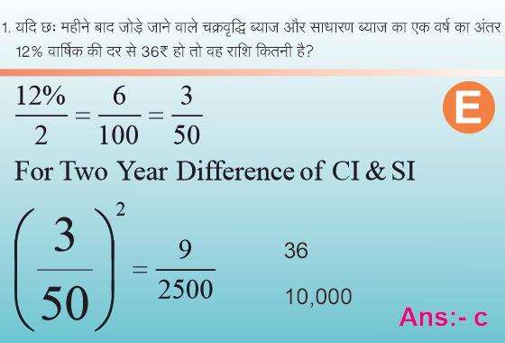 चक्रवृद्धि और साधारण ब्याज के अंतर पर आधारित प्रश्न।