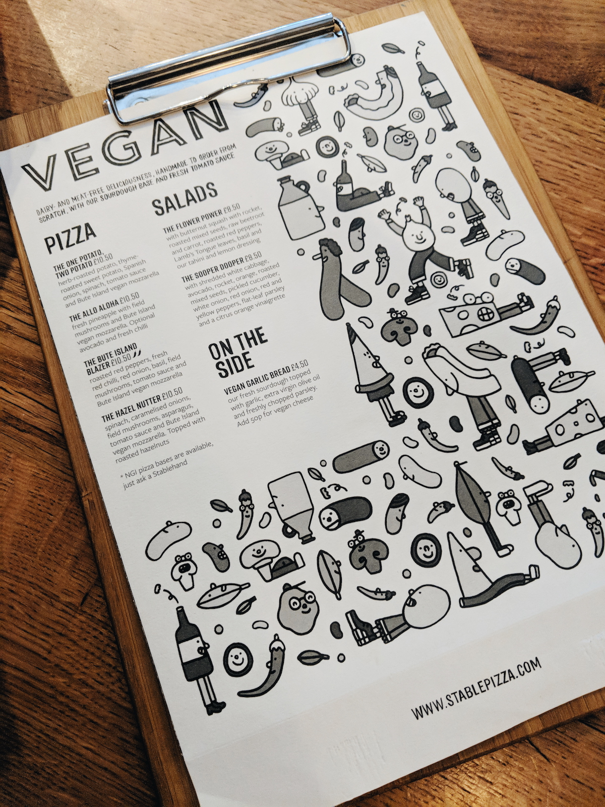 The vegan menu at The Stable