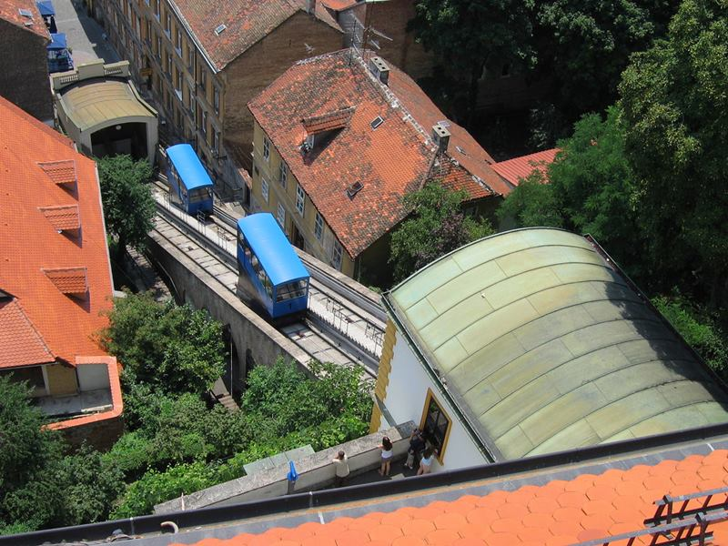 The Zagreb Funicular is the funicular in Zagreb, Croatia, The lower station is located on Tomiceva Street, while the other station is located at the base of Lotršcak Tower. It was opened in 1890 after just 2 years from getting the building permit.  It is 66 meters long and it is the shortest funicular in the world.