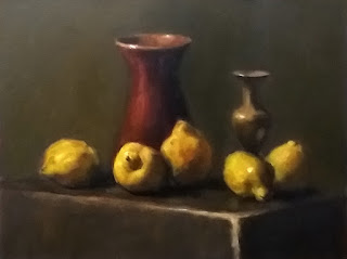 Oil painting of five quinces, a glazed pottery vase and a brass vase.