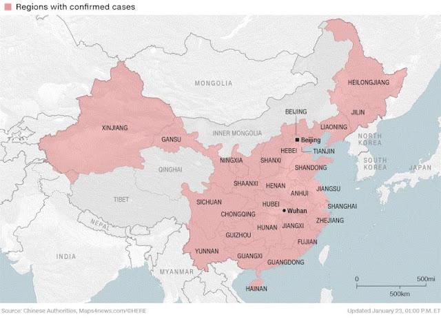 Tất cả các tỉnh Trung Quốc giáp biên giới Việt Nam đều đã có người nhiễm virus Corona