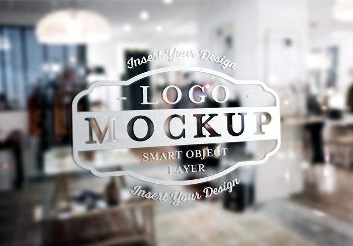 Window Transparent Signage Logo Design Mockup