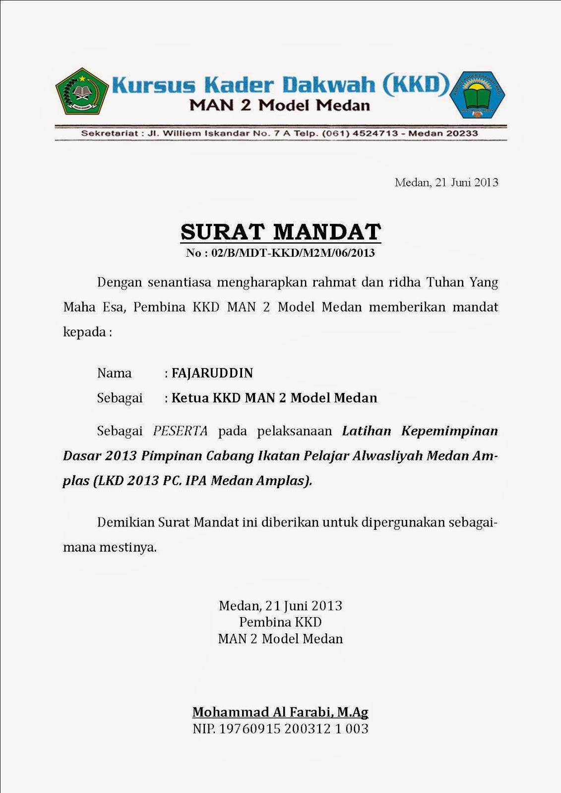 Contoh Surat Mandat : contoh, surat, mandat, Contoh, Surat, Mandat, Pramuka
