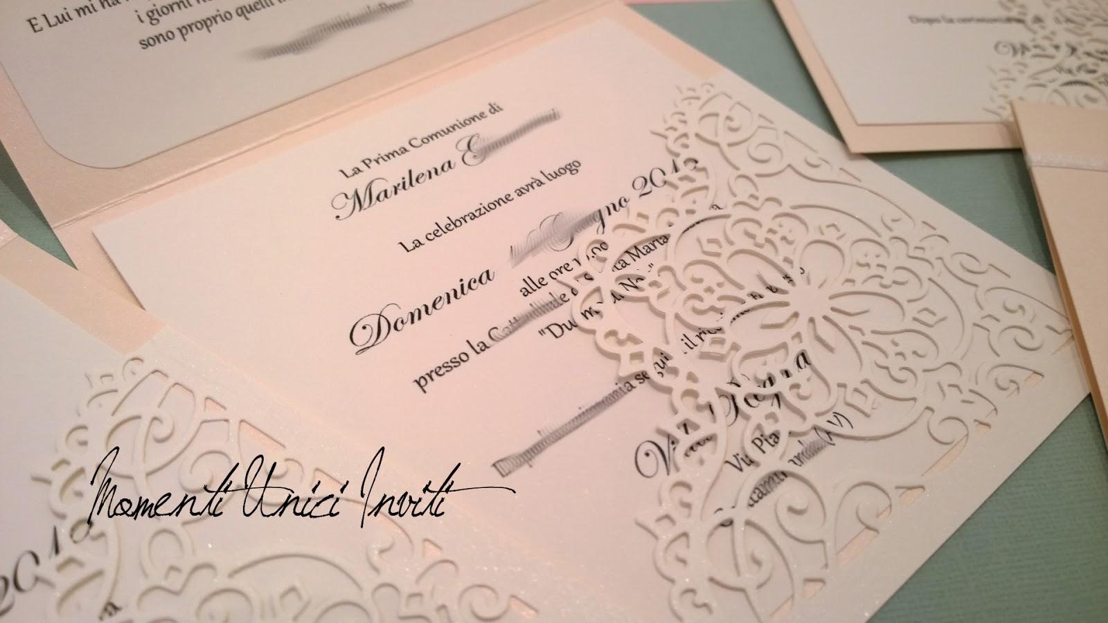4 Gli inviti per la Prima Comunione di MarilenaBiglietti d'invito - Prima Comunione Partecipazioni shabby chic - country - vintage Stile Shabby Chic
