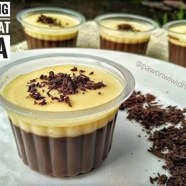 Resep dan Cara Membuat Puding Coklat Vla Vanila Cup Lezat Sederhana