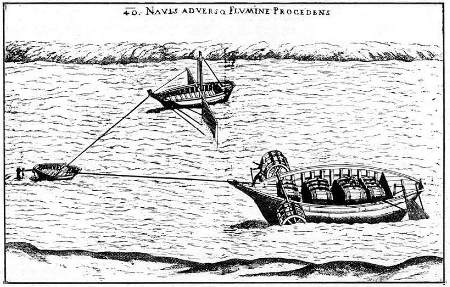 Fausto Veranzio's concept of ship haulage around 1595