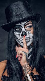 Skull Face Girl Mobile HD Wallpaper