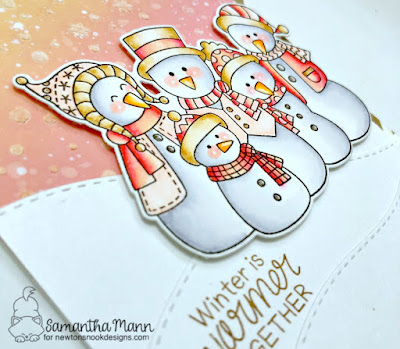 Winter is Warmer Together Card by Samantha Mann for Newton's Nook Designs, Distress Inks, winter, christmas, ink blending, distress inks, snowman #newtonsnook #snowman #cards #winter #snow #sky