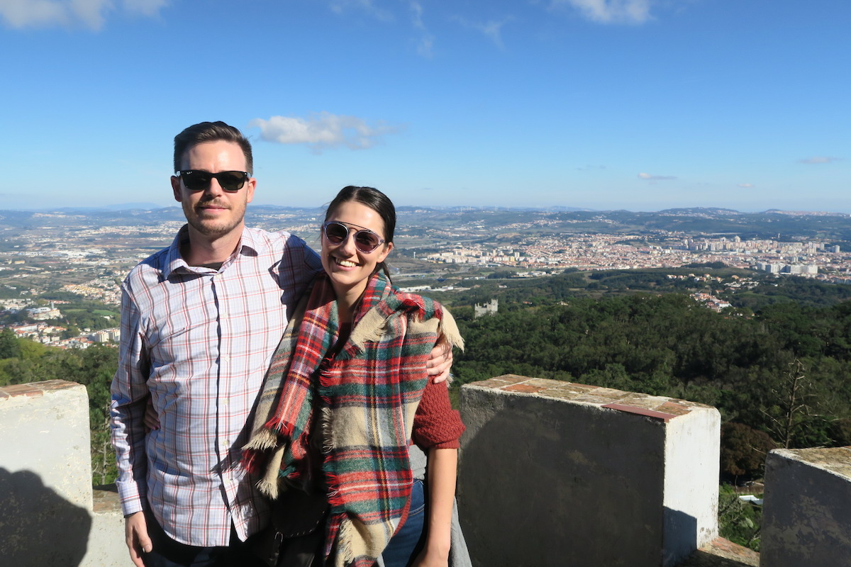 This is a shot of my boyfriend and I, with Lisbon and the city in the background.