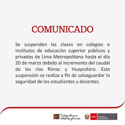 Suspensión de clases por fuertes lluvias en Perú