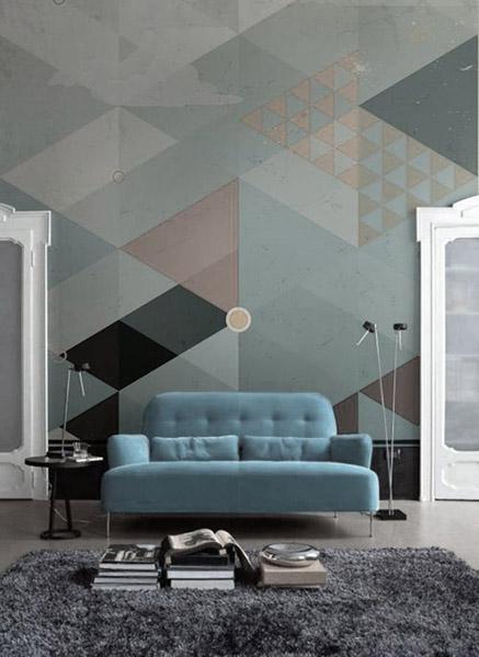 triangle sur murs teintes pastels