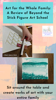 Text: Art for the Whole Family: A Review of Beyond the Stick Figure Art School; Sit around the table and create works of art with your entire family; watercolor picture and drawing with a marker
