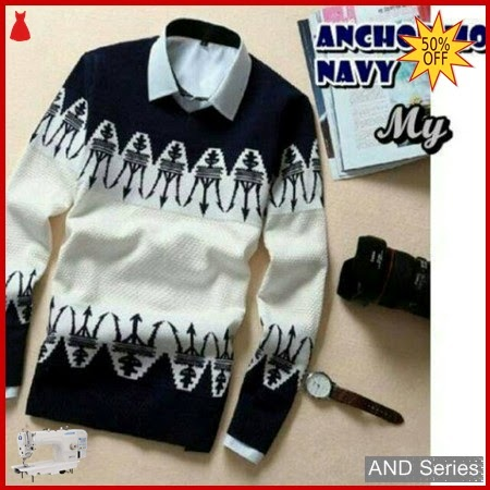 AND237 Sweater Pria Anchor Moon Biru Navy BMGShop