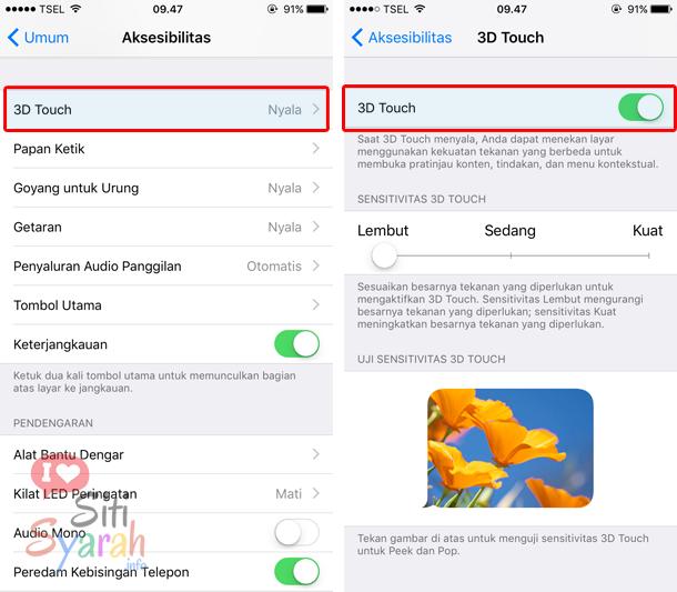 mengaktifkan fitur 3D touch iPhone 6S dan iPhone 7 Plus