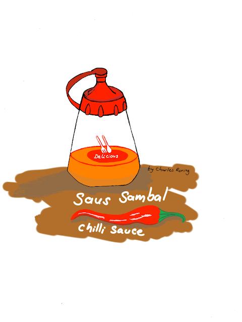 Ilustrasi digital sebotol sambal
