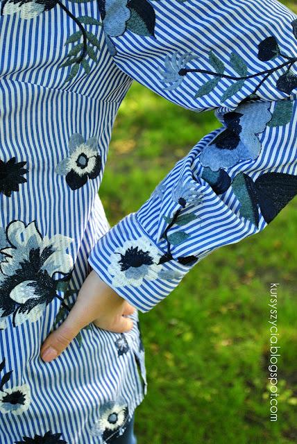 koszula na guziki, jak uszyć, kołnierzyk, listwa, porady, krawieckie, jak wykończyć, materiał haftowany, tkanina haftowana, tkanina w kwiaty
