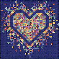 Exploding Heart quilt in the Kaffe Fassett Prism collection