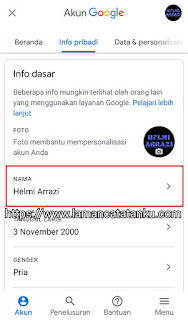 menu info pribadi akun gmail