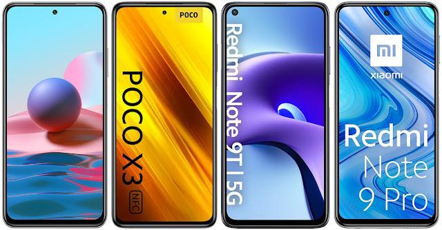 Xiaomi Redmi Note 10 vs Xiaomi POCO X3 vs Xiaomi Redmi Note 9T 5G vs Xiaomi Redmi Note 9 Pro