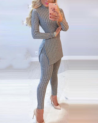 Solid Knitted Long Sleeve Skinny T-shirts With Skinny Pants Suit Sets