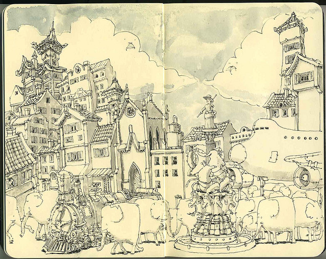 04-An-Allegory-Of-The-Last-Two-Years-Mattias-Adolfsson-Surreal-Architectural-Moleskine-Drawings-www-designstack-co