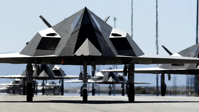 Pyramid shaped US Air Force Jet using stealth technologies.