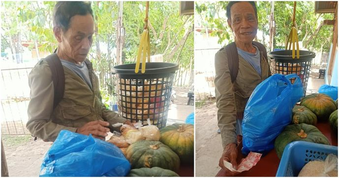 Poor old man receives aid, buys food to distribute to neighbors