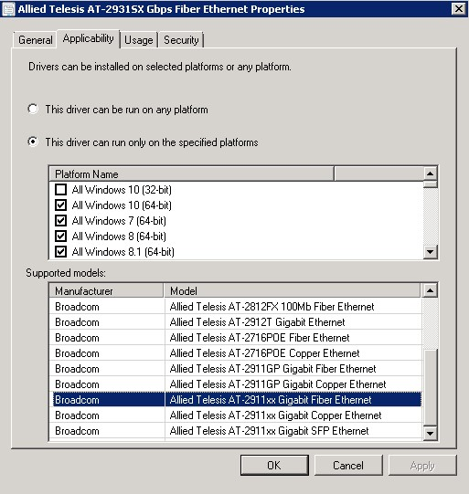 Allied Telesis AT-2911xx Fiber Ethernet Drivers Update