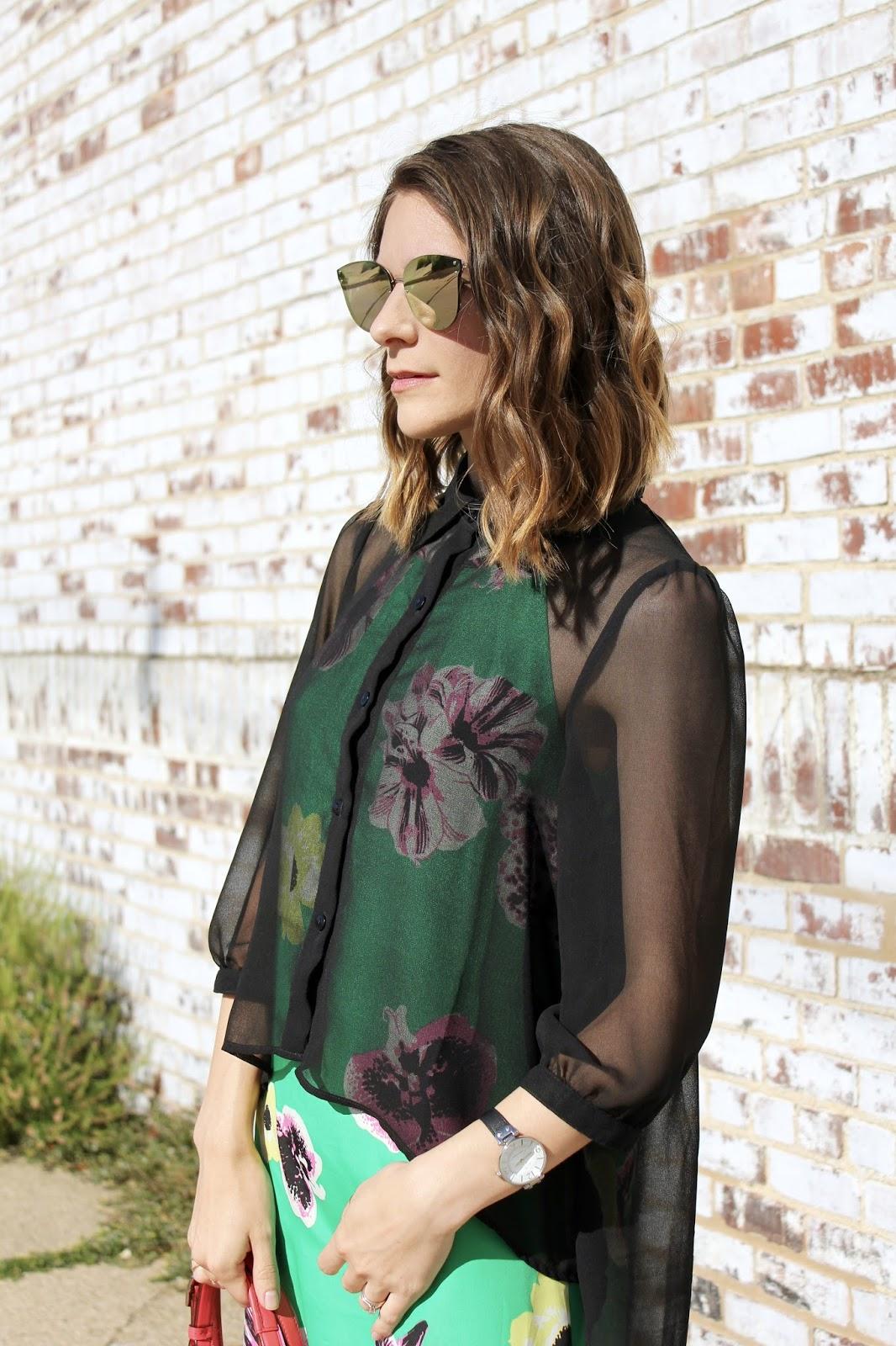 Green Silk Floral J.Crew Dress