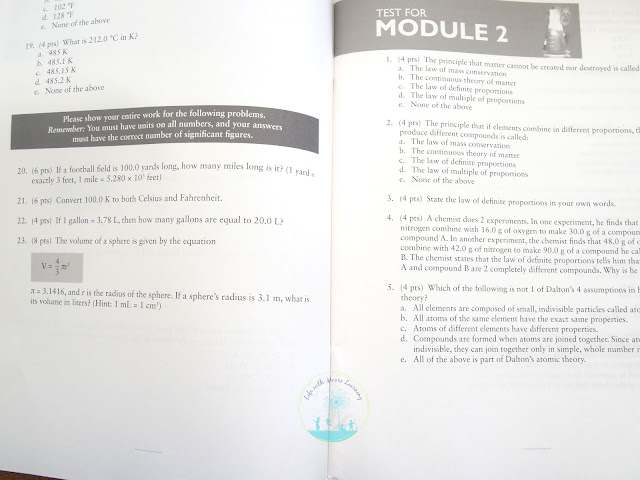 Apologia Chemistry Tests are in a separate test book